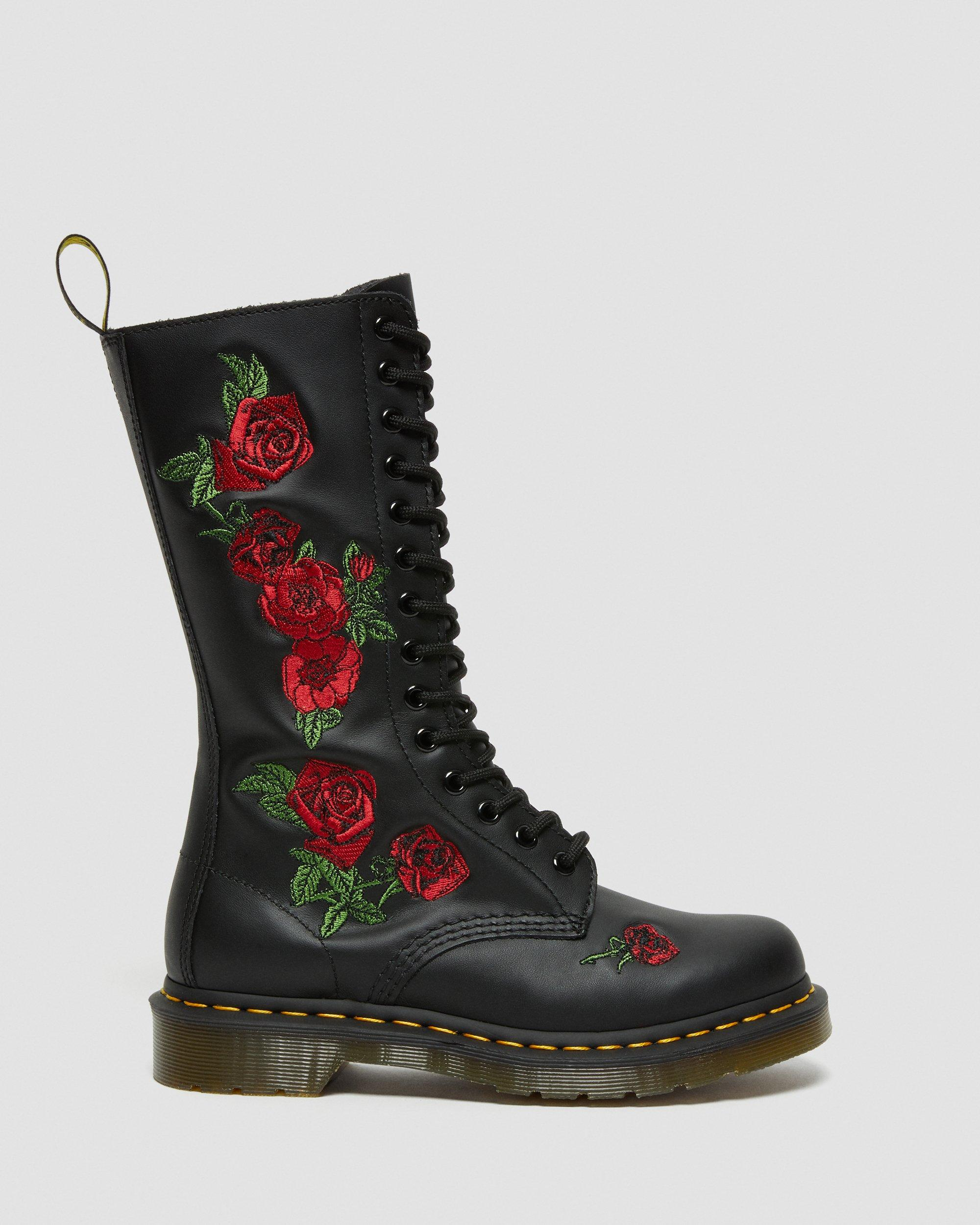 Dr. Martens VONDA Embroidery BLACK, Damen Combat Boots, Schwarz (Black), 36 EU (3 Damen UK)