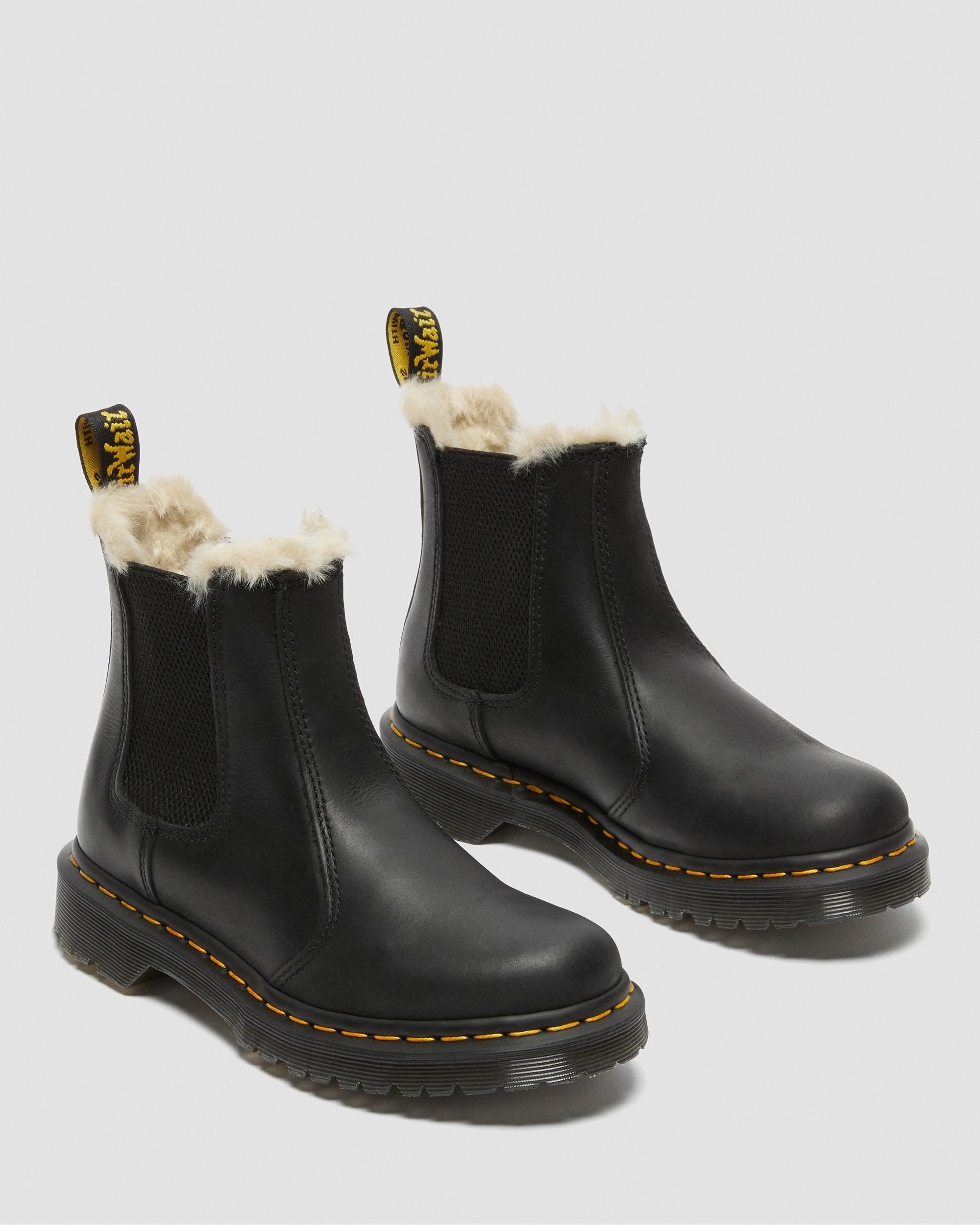 Dr. Martens Popular Womens Chelsea Boots Black Fur Lined
