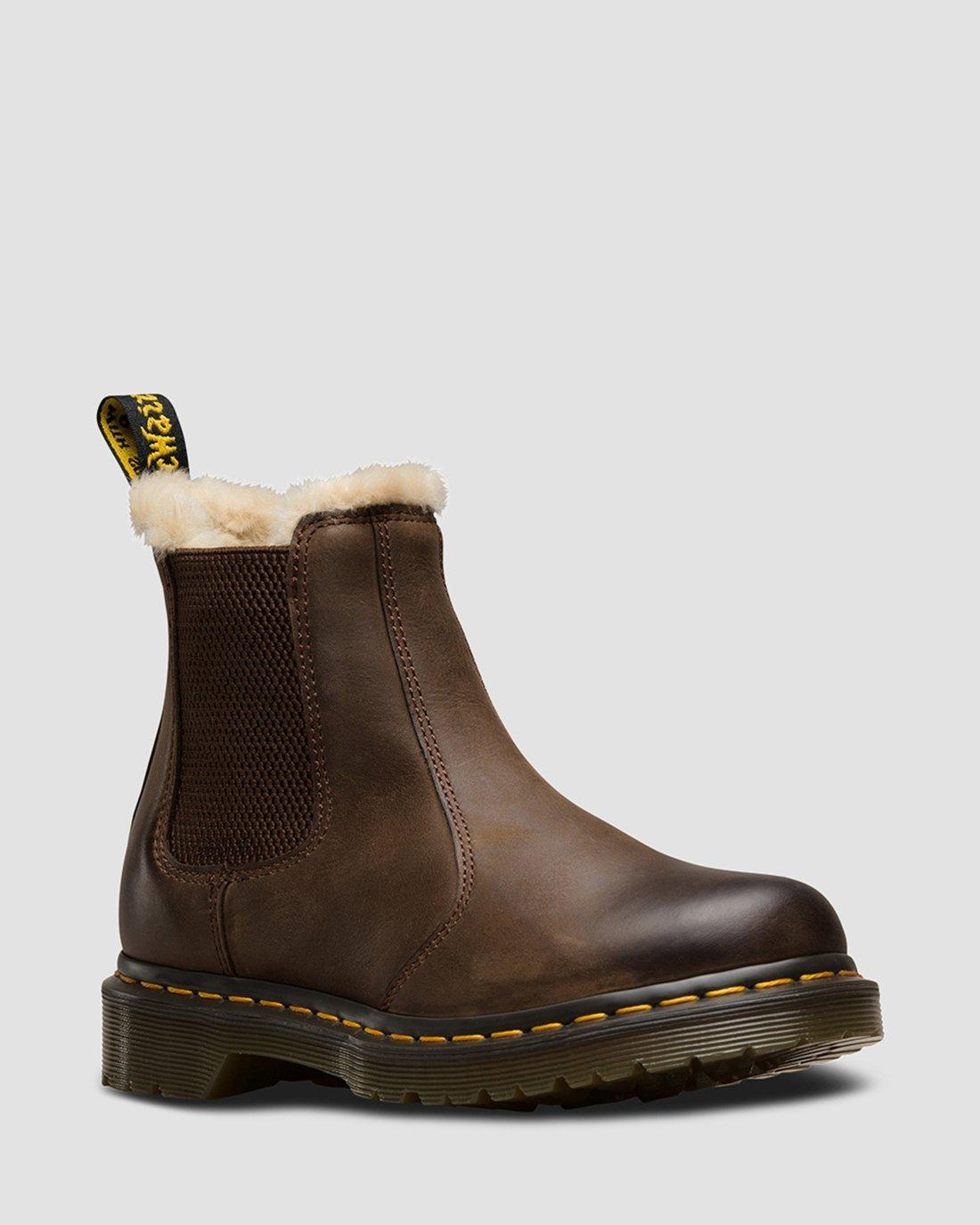 DR MARTENS 2976 Leonore Fur Lined Leather Chelsea Boots