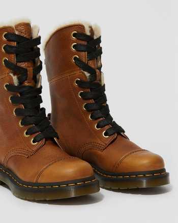 DR MARTENS Amilita Grizzly Tan 9-Eye Toe Cap Boots Shoes US 9 M EUR 41 NWB