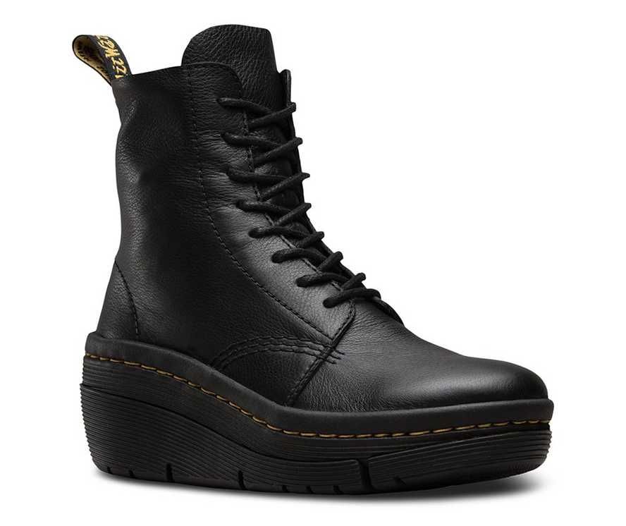 DR.MARTENS ZARELA BLACK Womens Virginia Leather Wedge Zip up