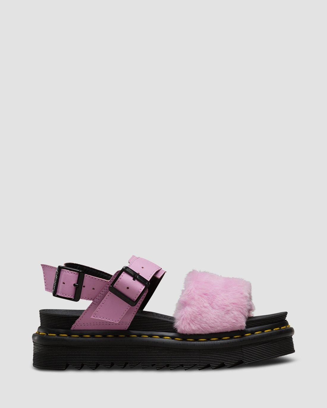 Fashion Women's Sandals Mallow Pink Toby Fur | Dr. Martens