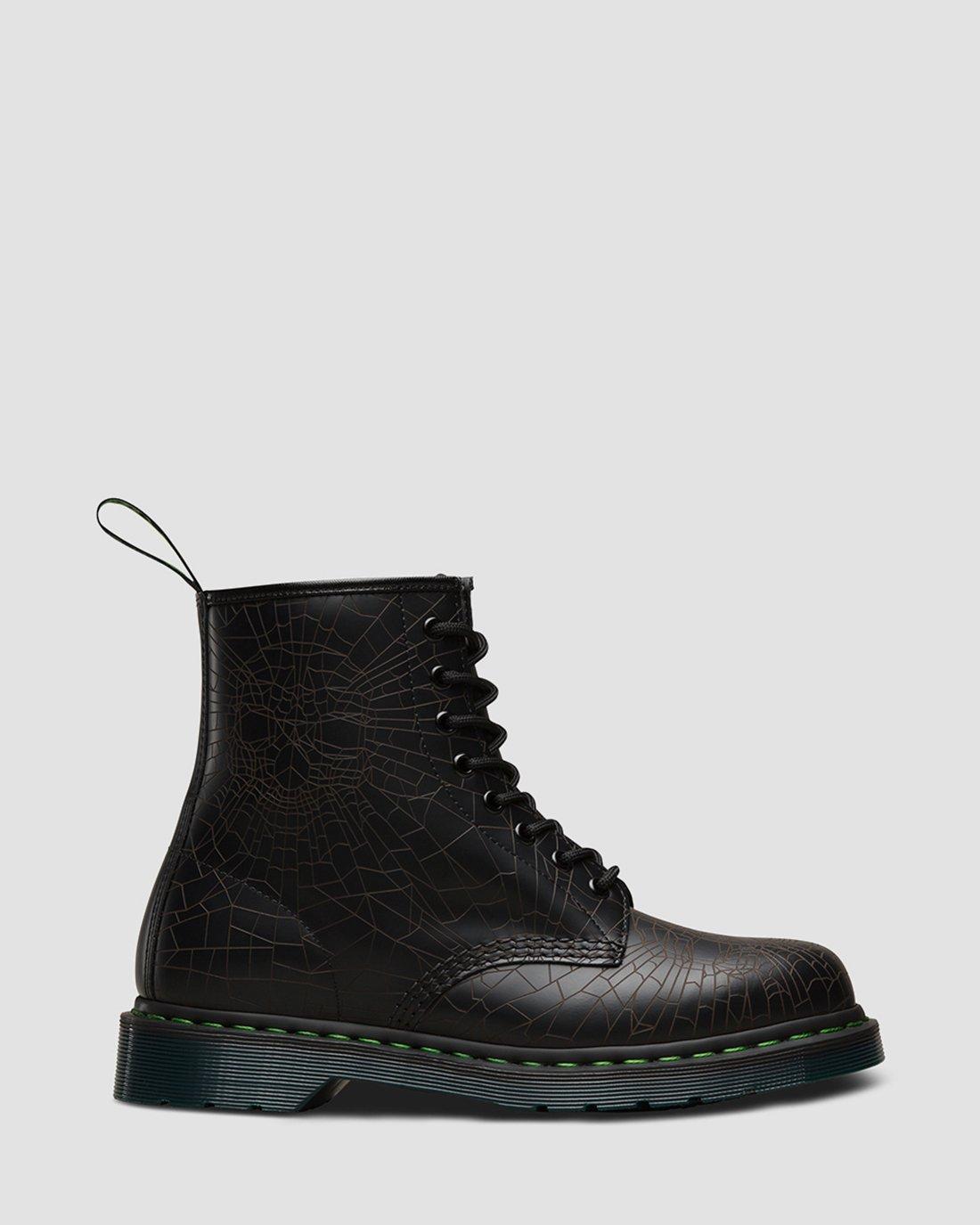 Dr Martens 1460 Skull Web Unisex Leather Ankle Boots Black