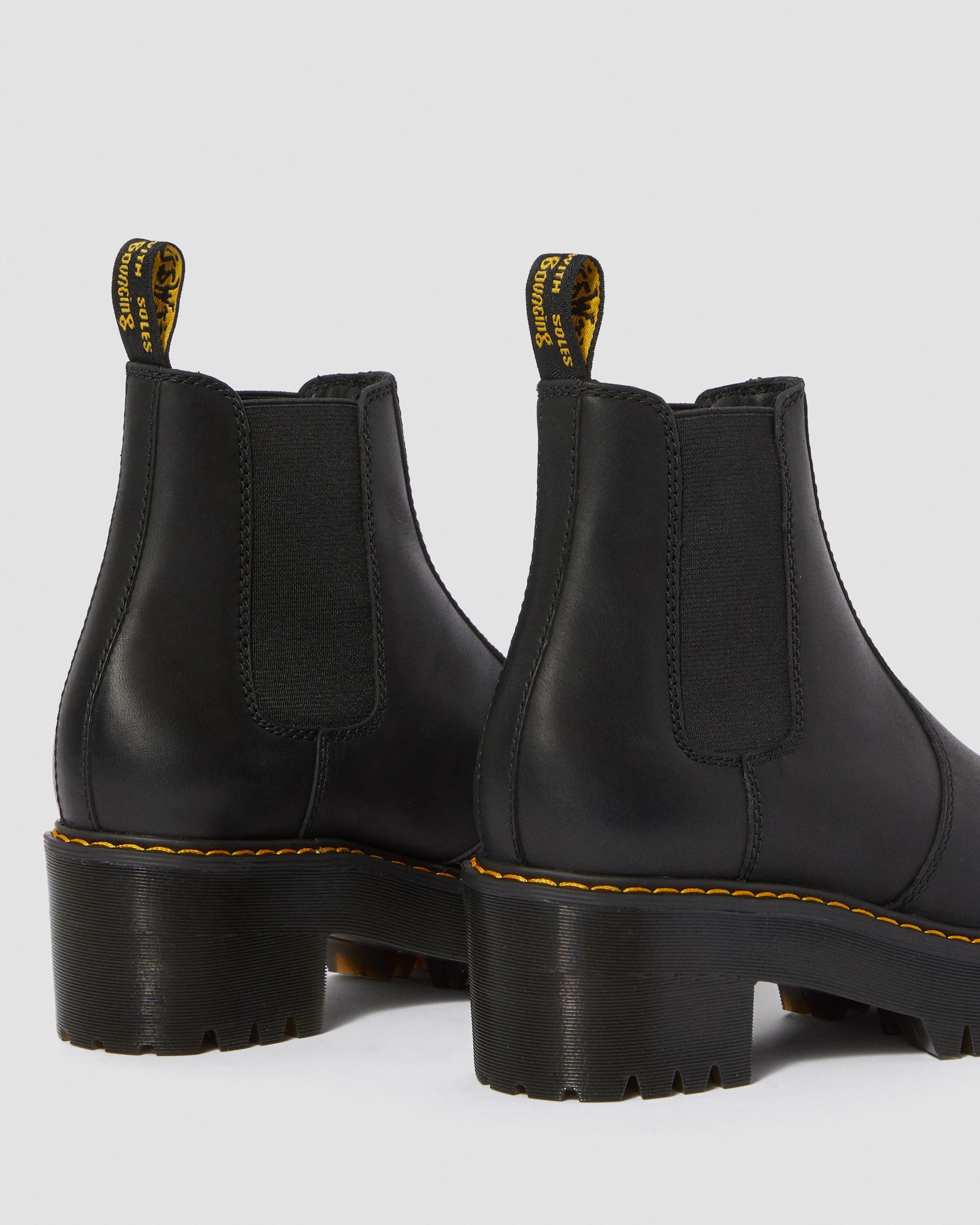 Dr Martens Rometty Chelsea boots van zwart leer met hak (Zwart) 10% korting