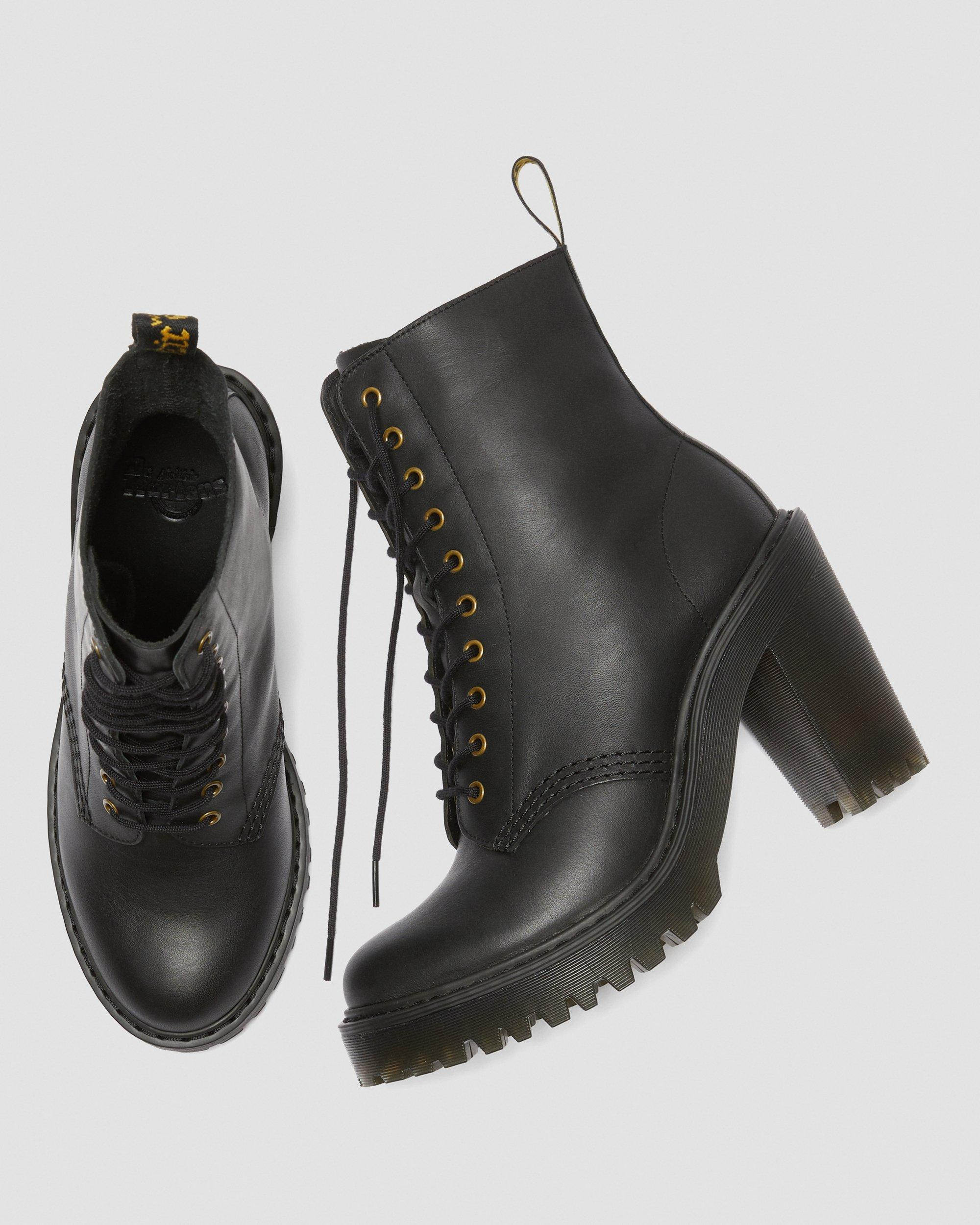 DR MARTENS KENDRA WOMEN'S LEATHER HEELED BOOTS