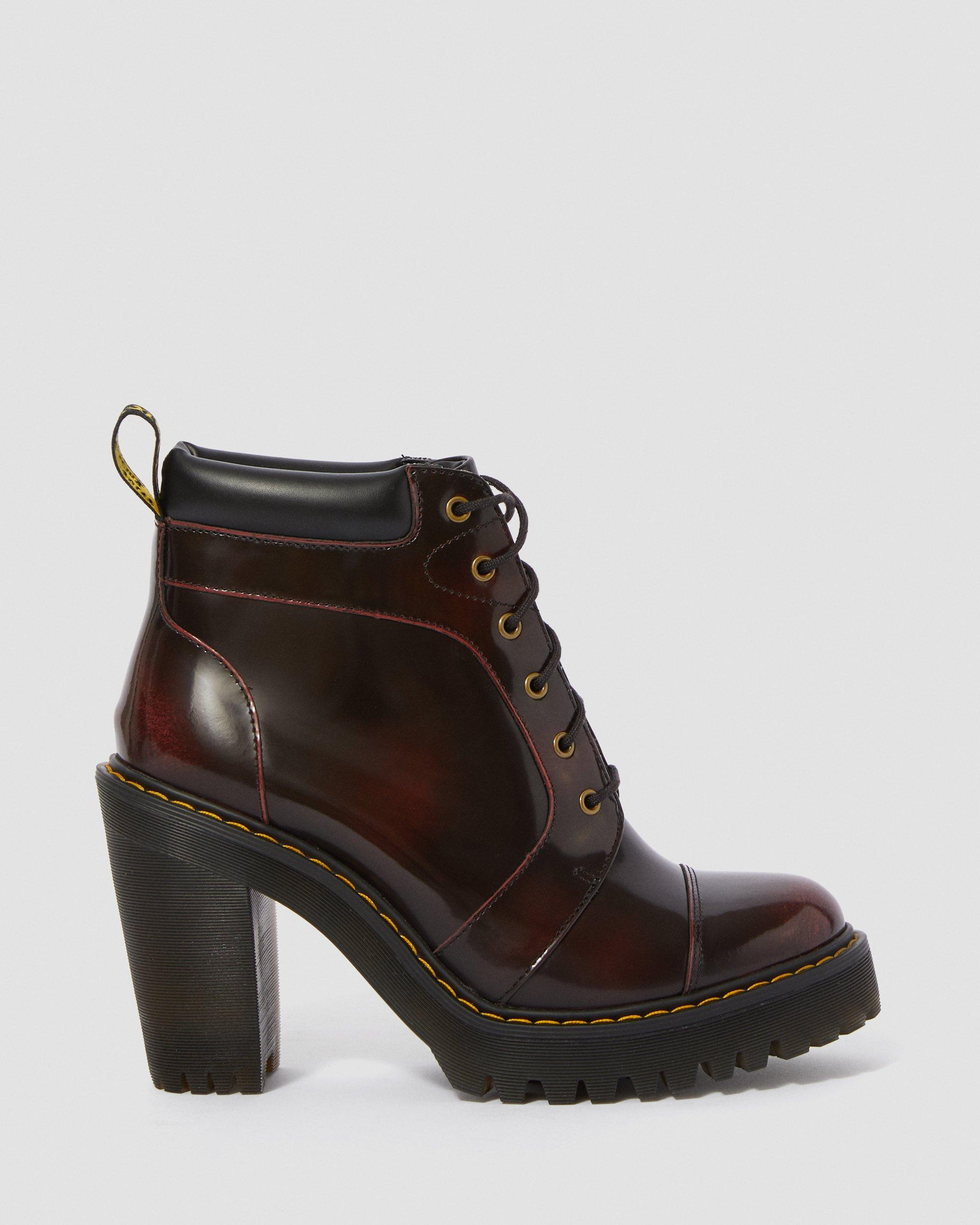 DR MARTENS AVERIL WOMEN'S ARCADIA LEATHER HEELED ANKLE BOOTS