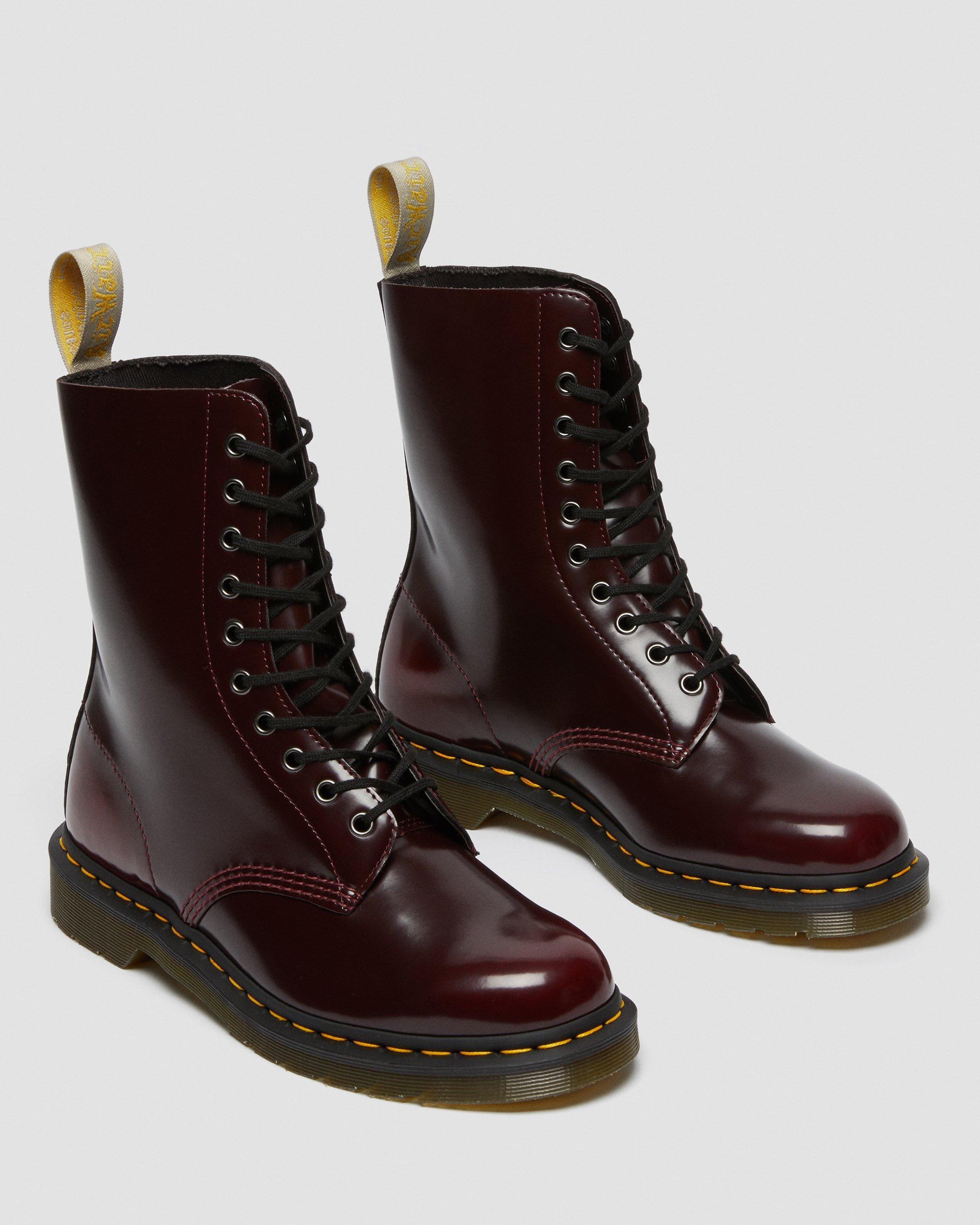 Vegan Boot   DR. MARTENS 1490 10 Eye Boot Cherry Red Oxford