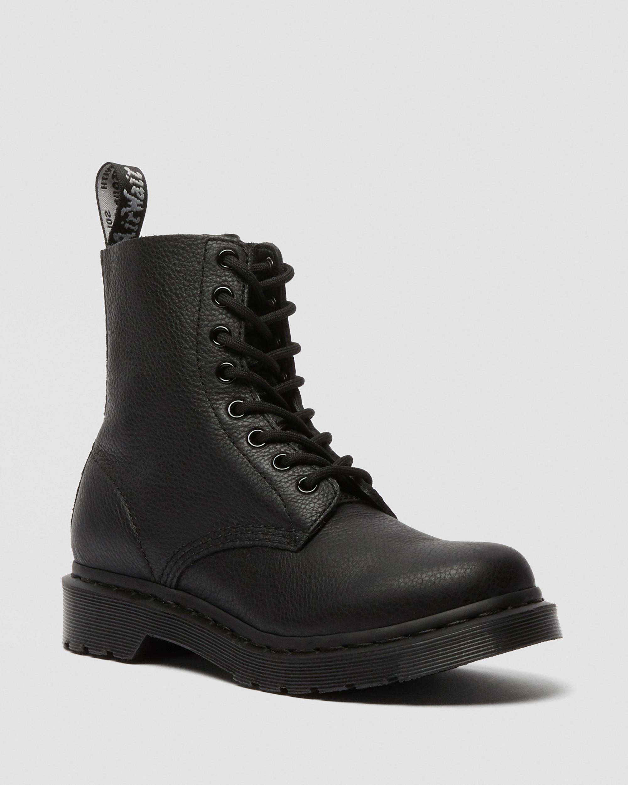 DR MARTENS 1460 PASCAL MONO VIRGINIA LEATHER ANKLE BOOTS