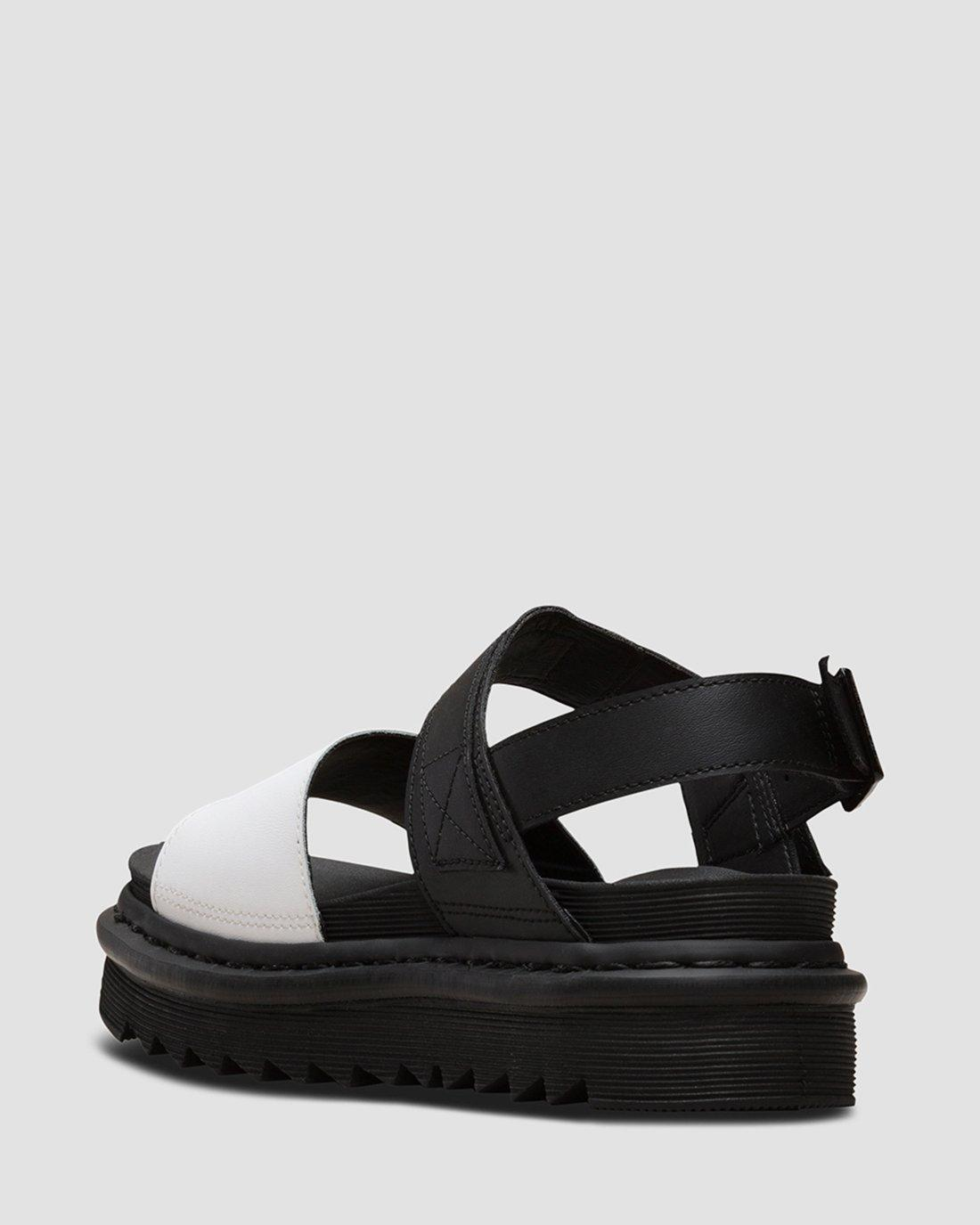 Details about Women's Shoes Dr. Martens VOSS Casual Leather Sandals 24628009 BLACK WHITE