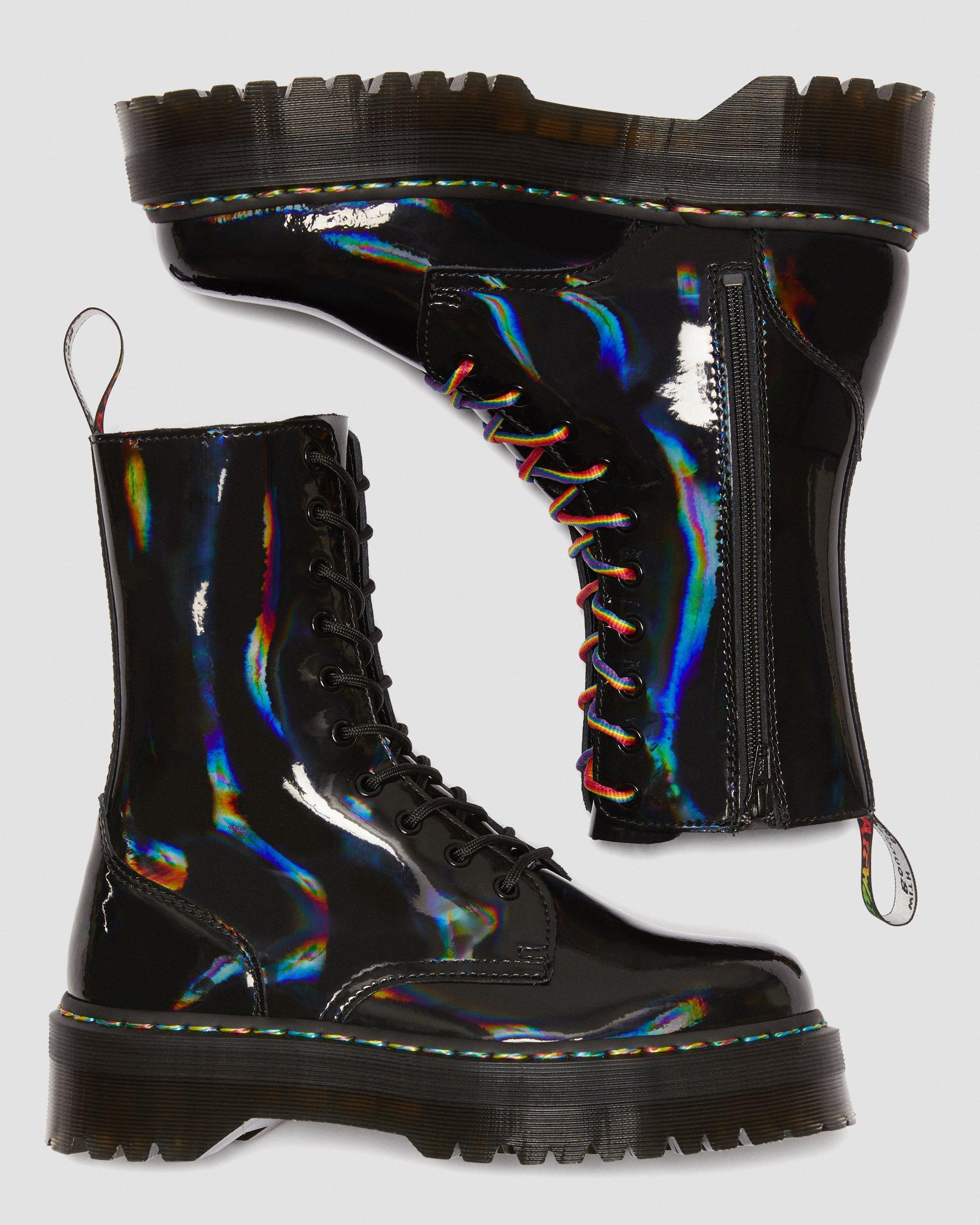 Jadon HI Rainbow Patent Platform Boots