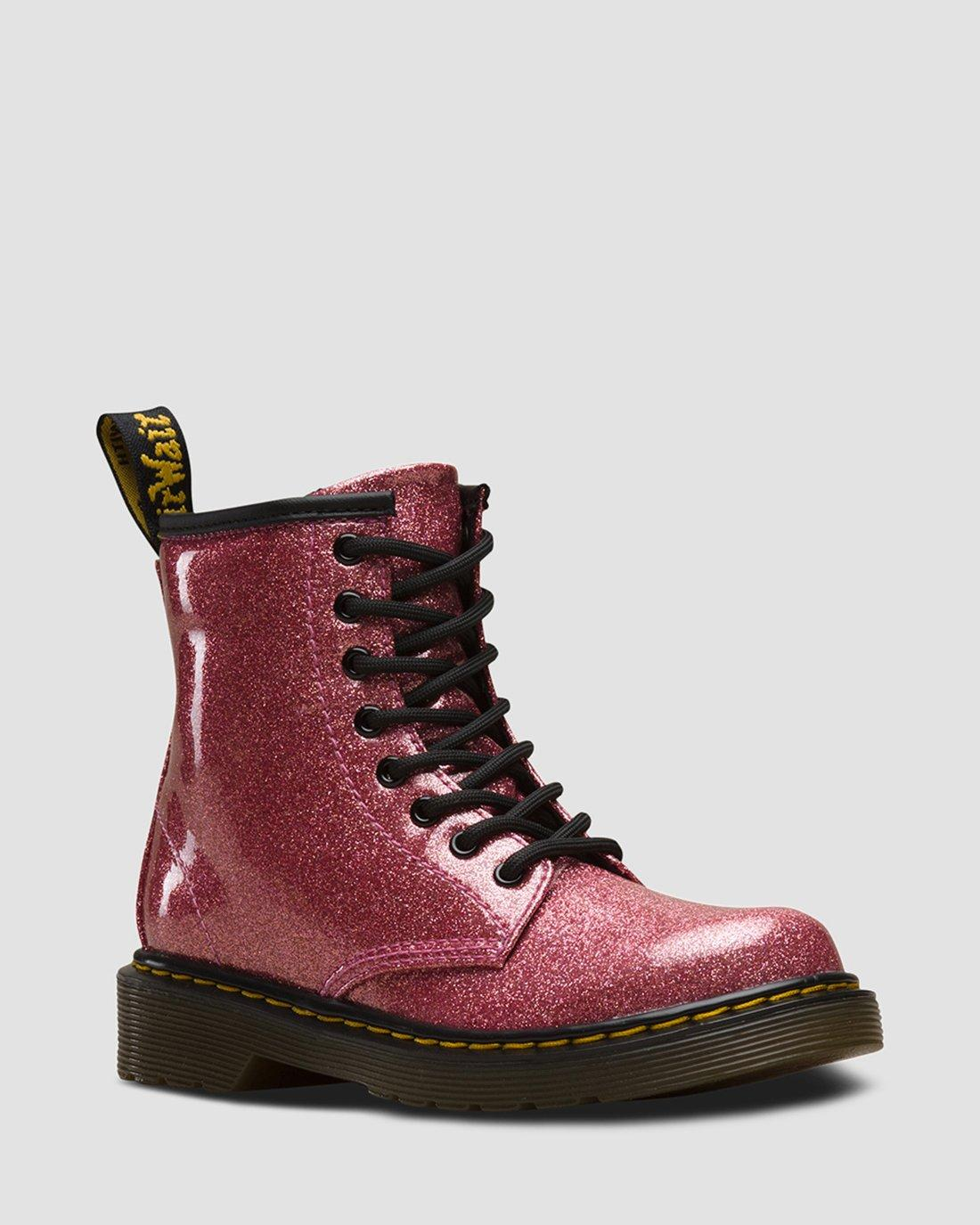 DR MARTENS JUNIOR 1460 GLITTER LACE UP BOOTS