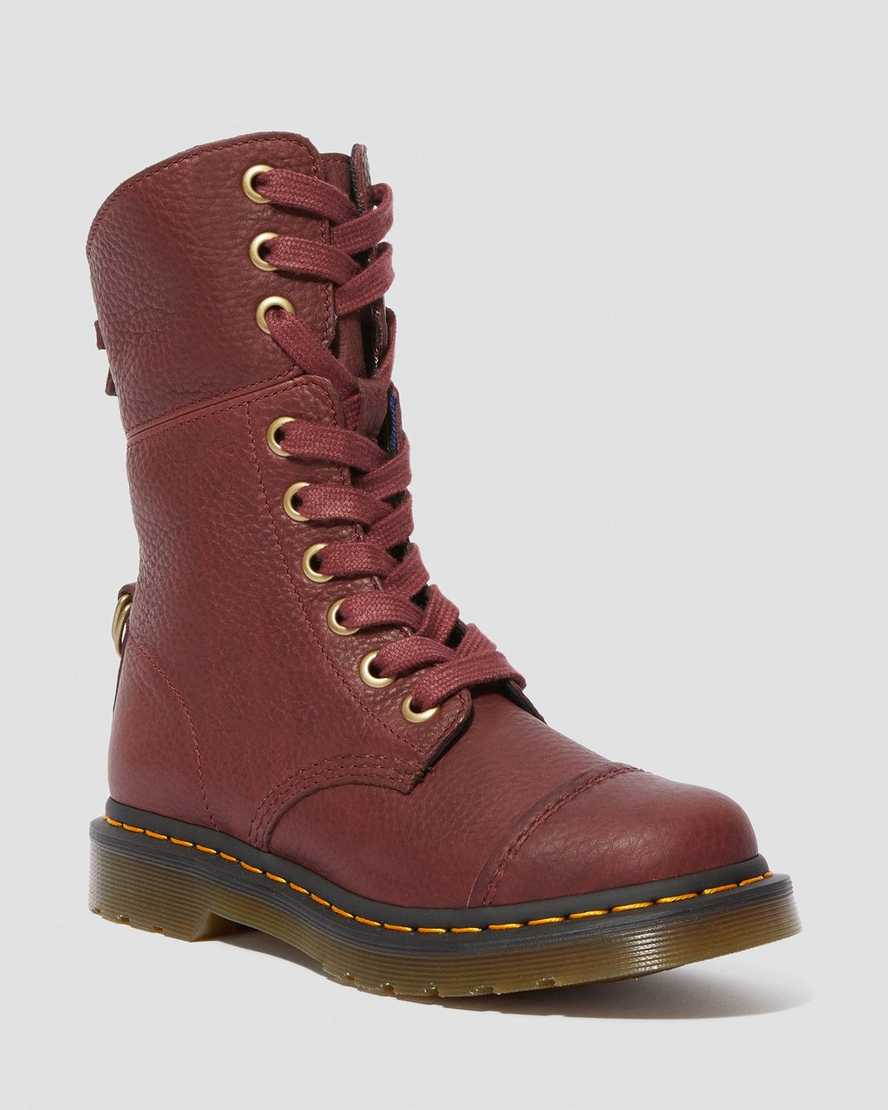 Aimilita Women's Grizzly Leather Tall Boots | Dr Martens
