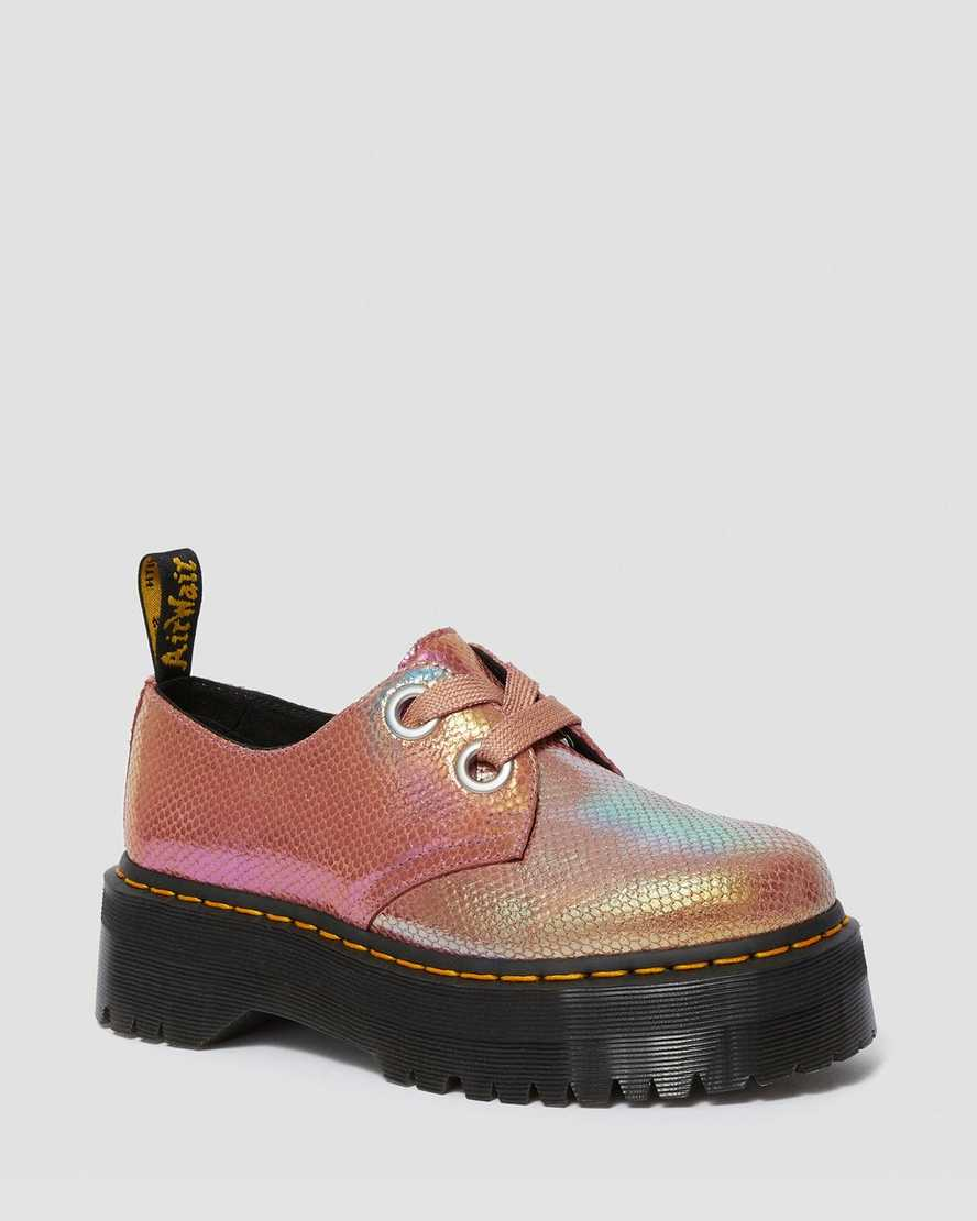 Holly Women's Iridescent Leather Platform Shoes | Dr Martens