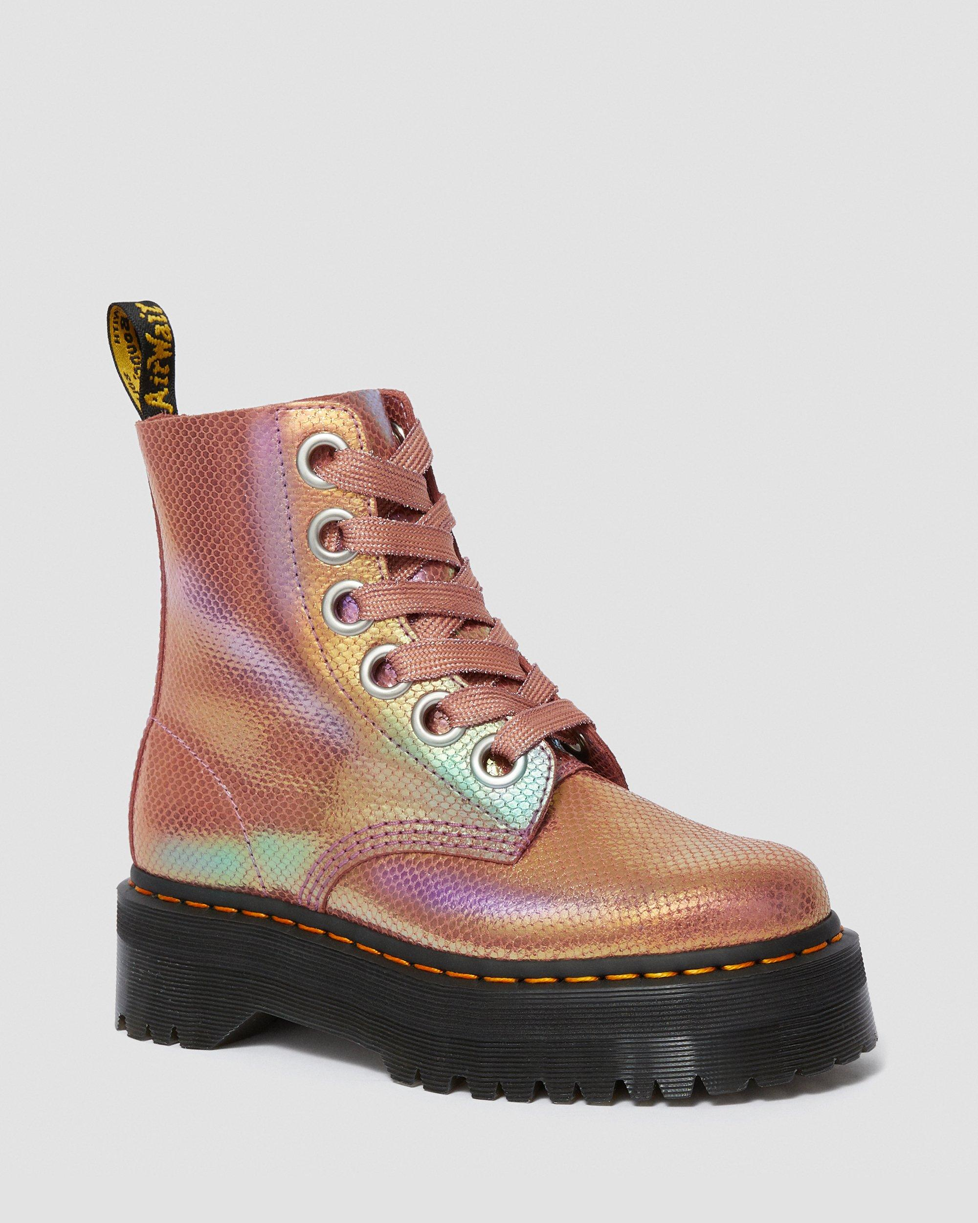 Molly Iridescent Platform Boots | Women's Footwear | Leather