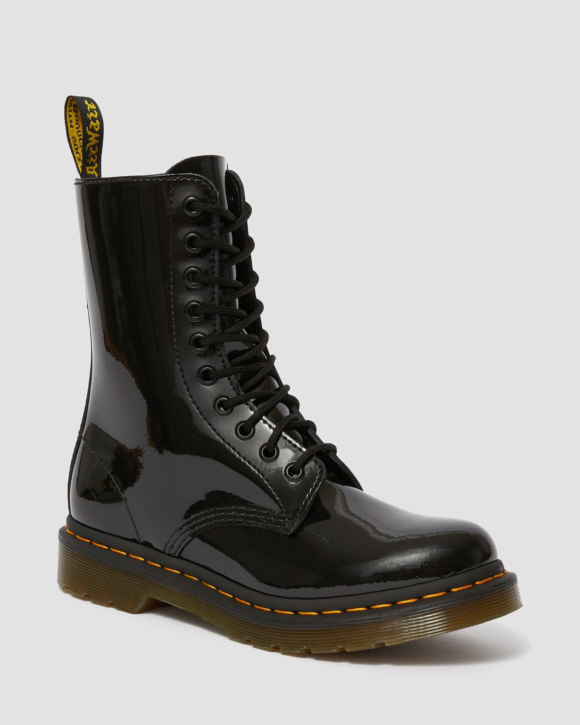 DR MARTENS 1490 WOMEN'S PATENT LEATHER MID CALF BOOTS