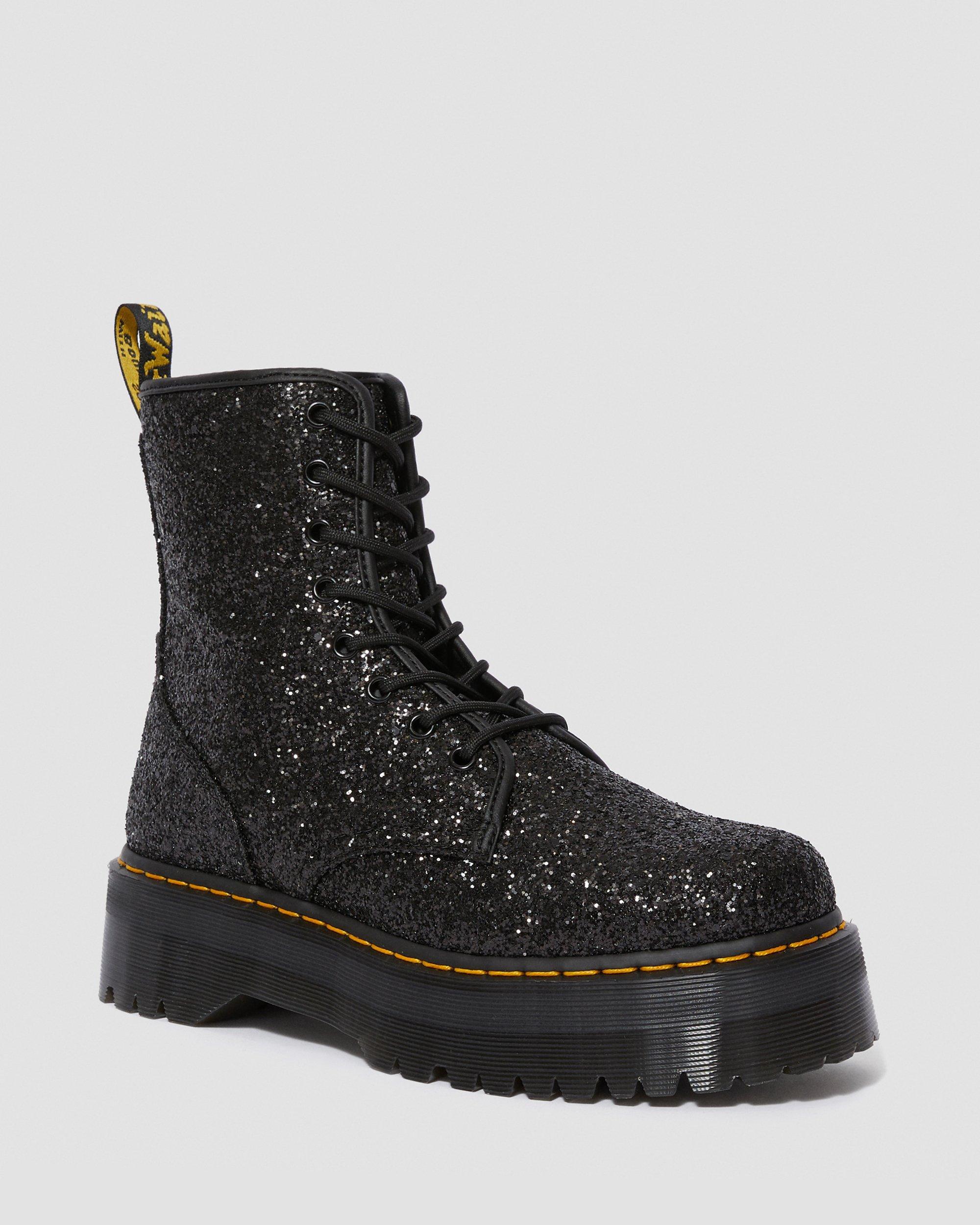 black glitter boots uk