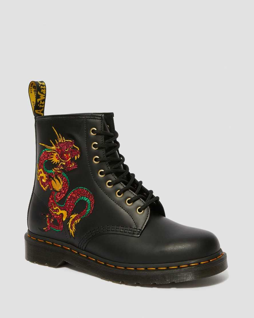 1460 LEATHER DRAGON EMBROIDERED LACE UP BOOTS | Dr Martens