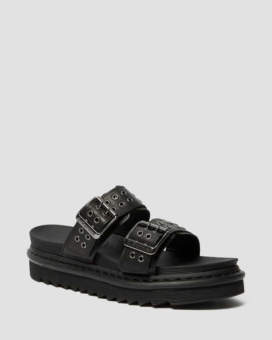 Myles Leather Buckle Slide Sandals | Dr Martens