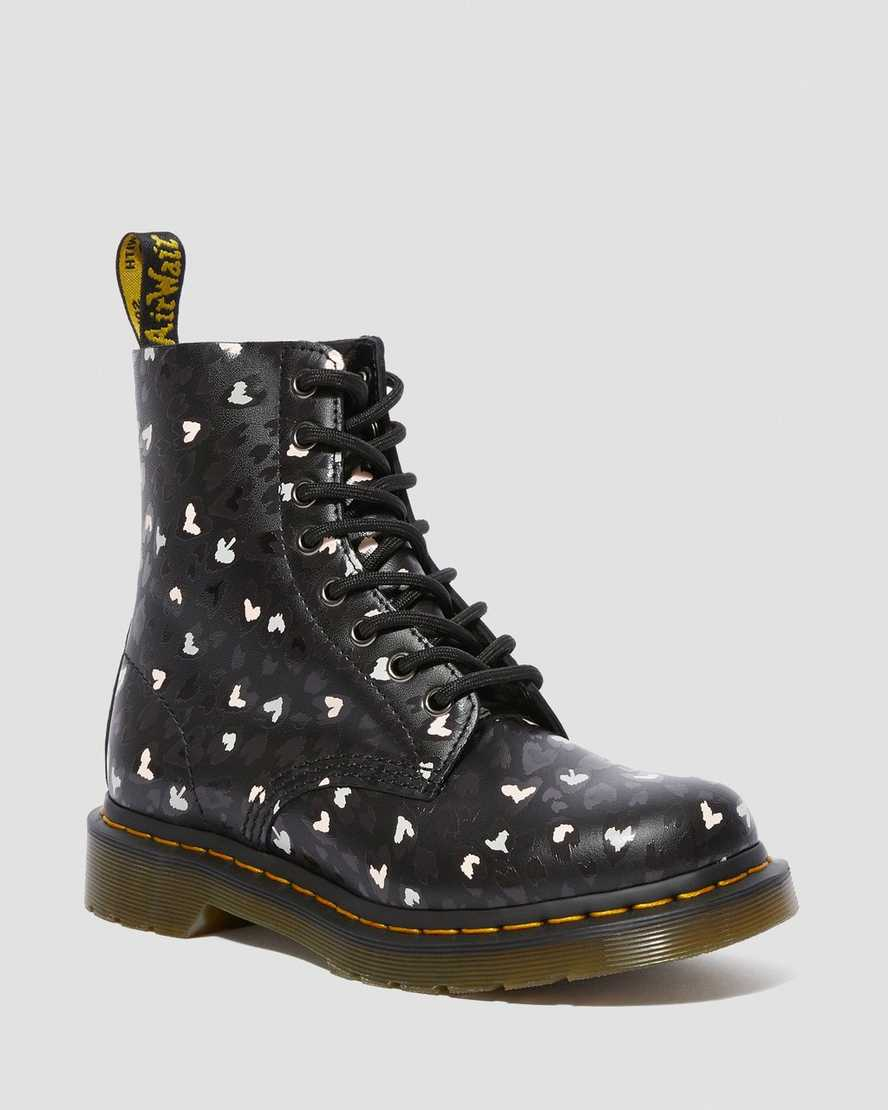 1460 PASCAL LEATHER WILD HEART PRINTED LACE UP BOOTS   Dr Martens