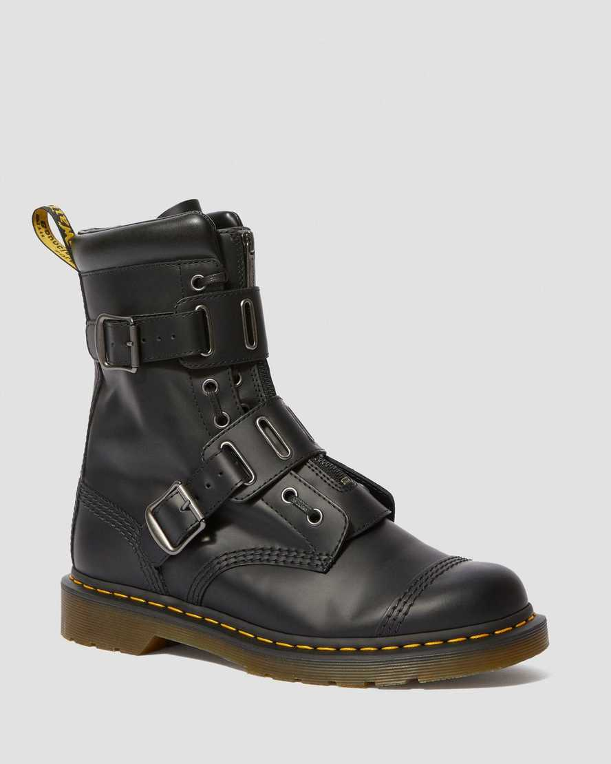 1490 QUYNN SMOOTH LEATHER BUCKLE LACE UP BOOTS | Dr Martens