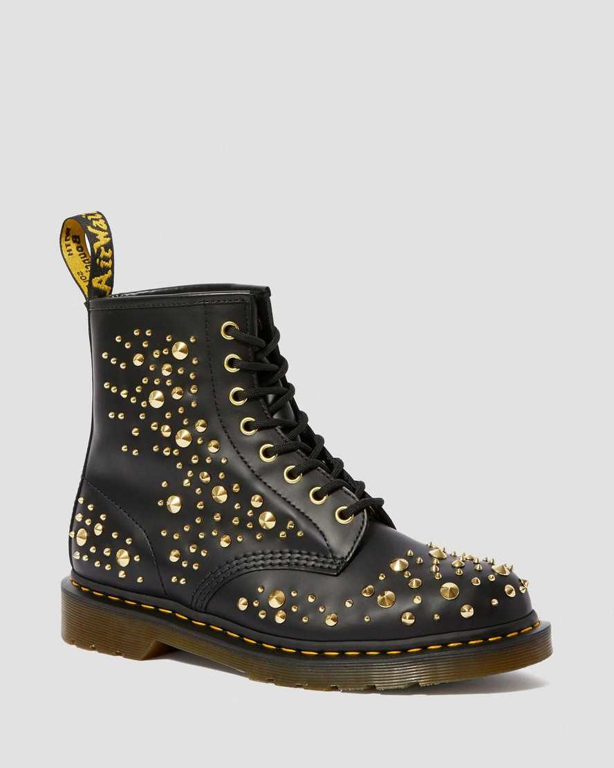 1460 Midas Smooth Leather Gold Studded Boots | Dr Martens