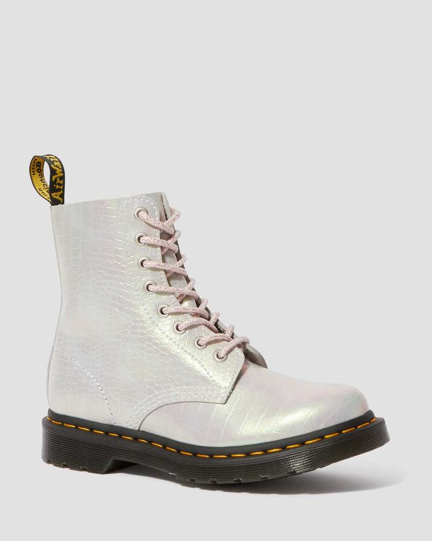 1460 PASCAL METALLIC CROCODILE LEATHER BOOTS   Dr Martens