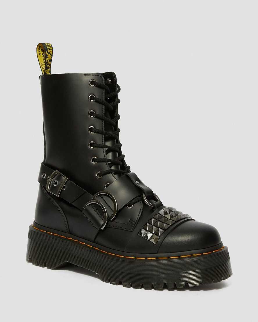 Jadon Hi Smooth Leather Studded Platform Boots   Dr Martens