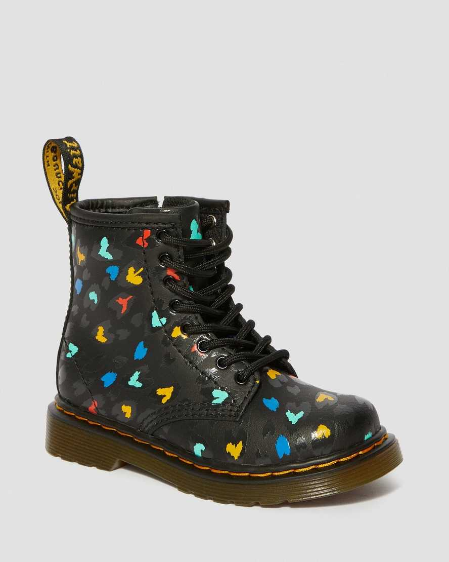 TODDLER 1460 LEATHER HEART PRINTED LACE UP BOOTS | Dr Martens