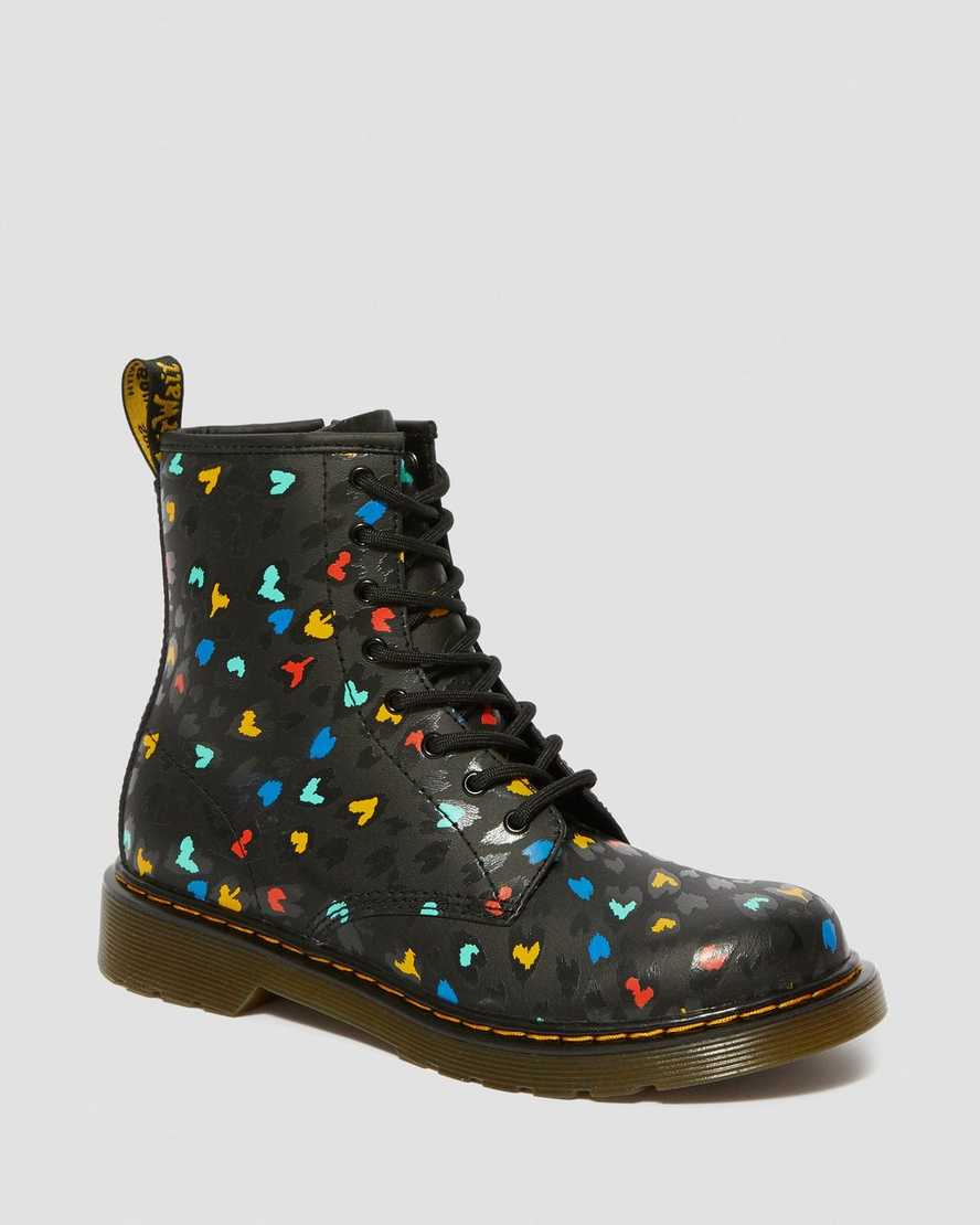 YOUTH 1460 LEATHER HEART PRINTED LACE UP BOOTS | Dr Martens