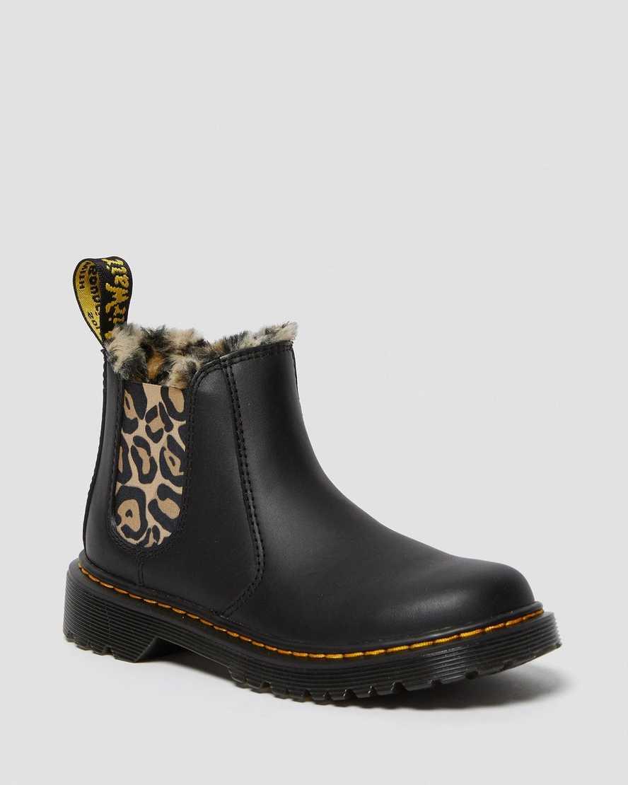 Junior 2976 Leopard Faux Fur Chelsea Boots | Dr Martens