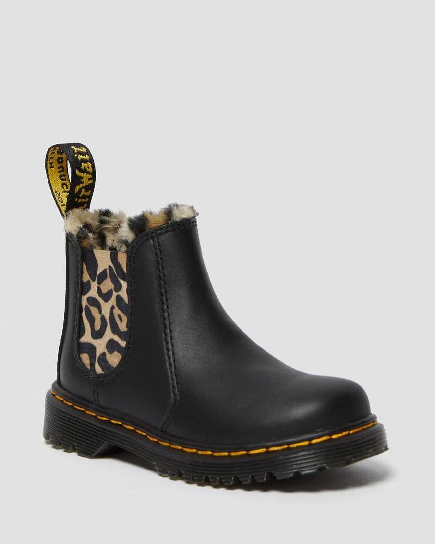 Toddler 2976 Leopard Faux Fur Chelsea Boots | Dr Martens