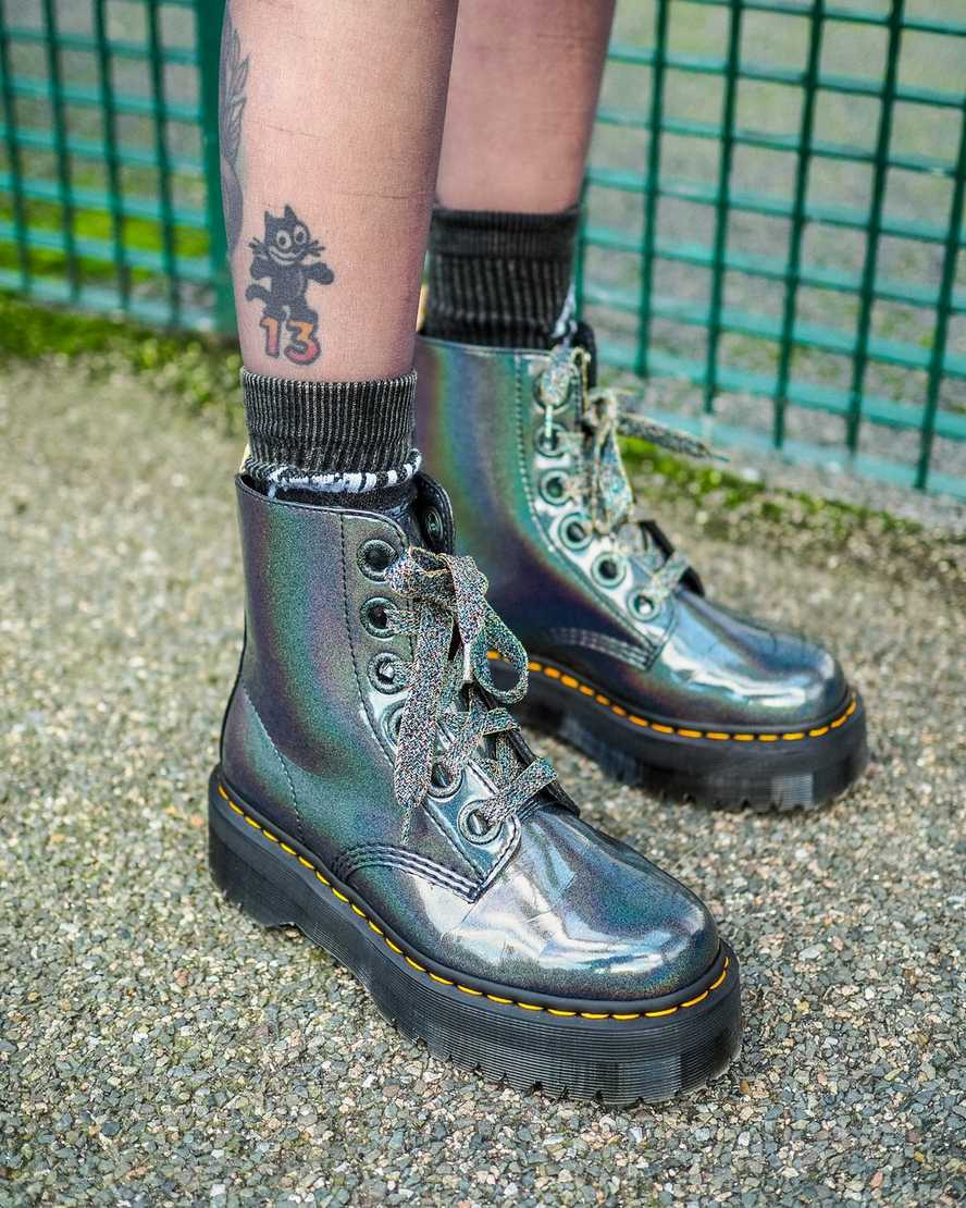Dr Martens Molly Iridescet Womens Leather Ankle Boots Gun Metal Size UK 3-8