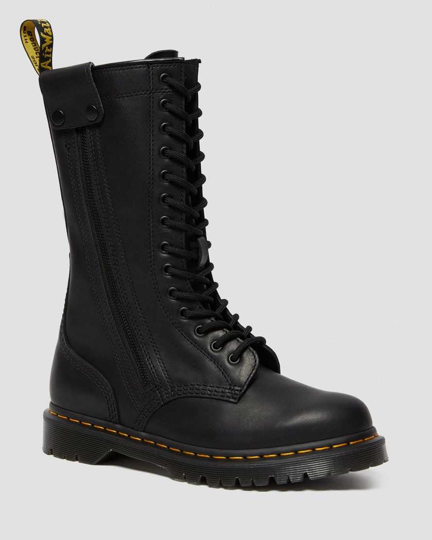 Hanley Leather Tall Moto Boots | Dr Martens