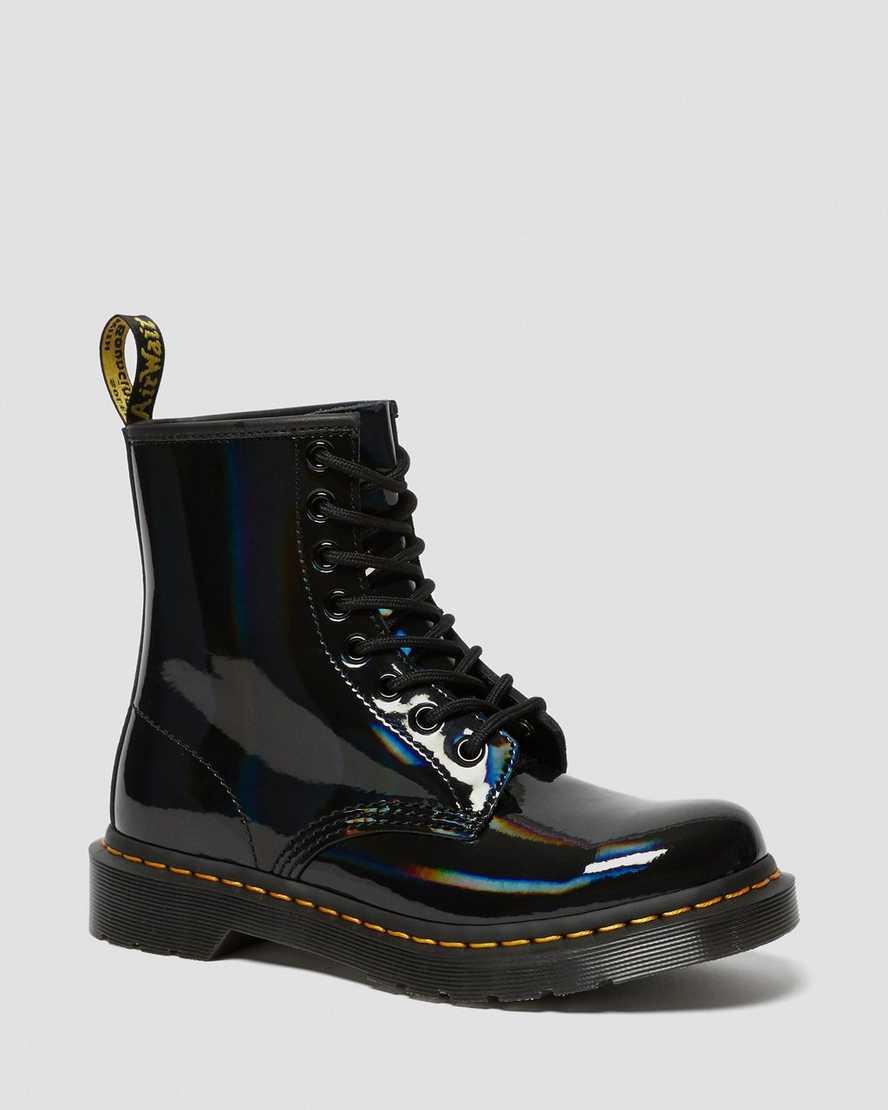 Dr Martens 1460 Black Rainbow Patent Ladies Boots