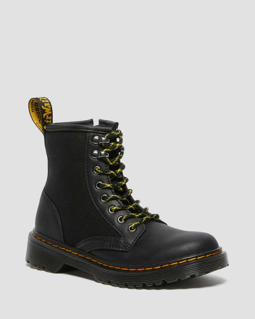 https://i1.adis.ws/i/drmartens/26985001.88.jpg?$large$Junior 1460 Panel Canvas and Leather Lace Up Boots | Dr Martens