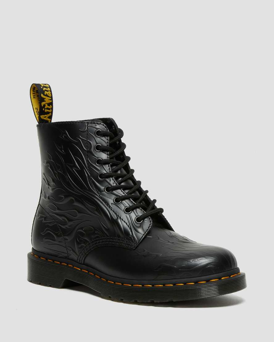 https://i1.adis.ws/i/drmartens/27028001.88.jpg?$large$1460 Flames Emboss Leather Lace Up Boots | Dr Martens