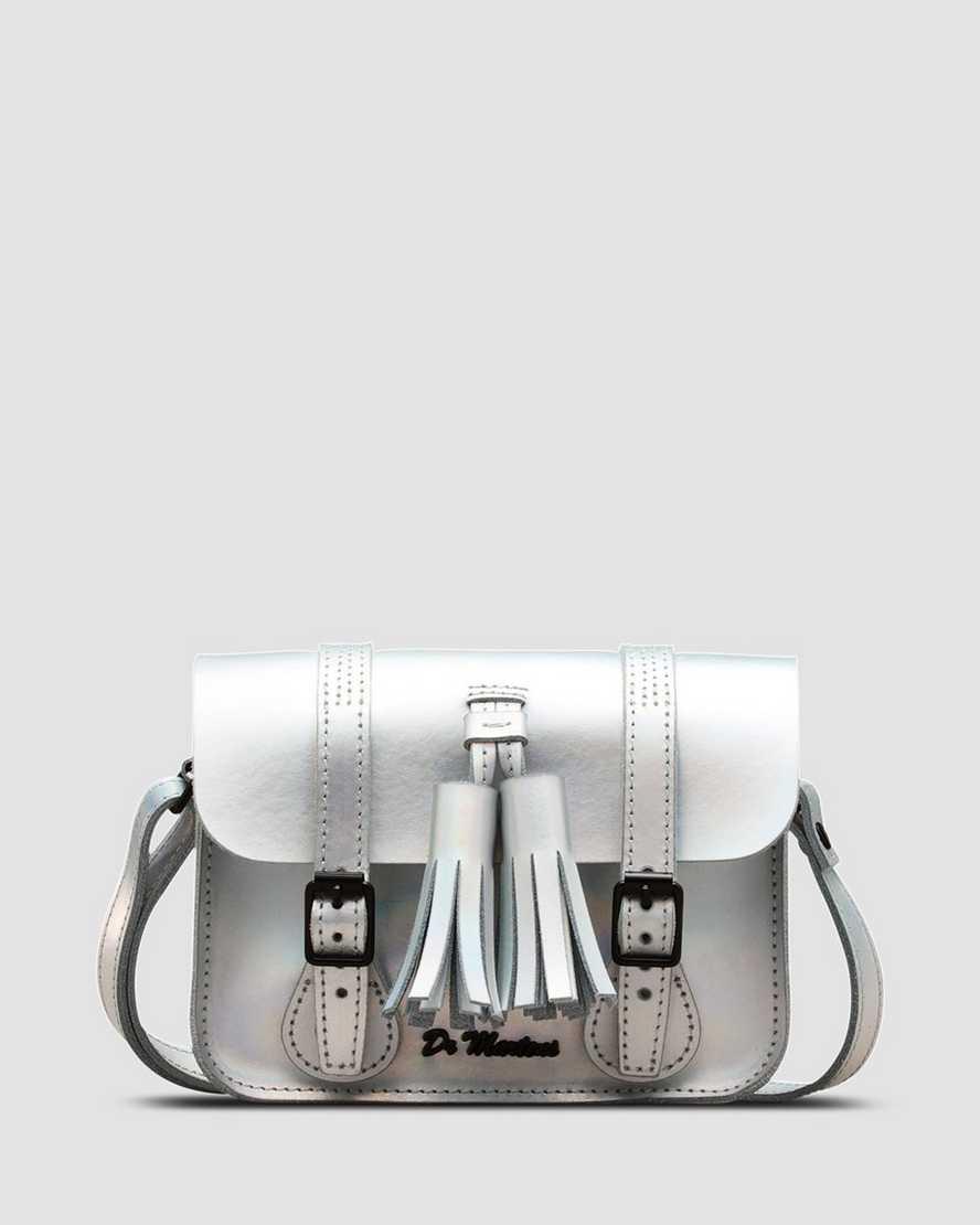 "Dr Martens 13/"" Silver Iced Metallic Leather Tassel Satchel Bag"