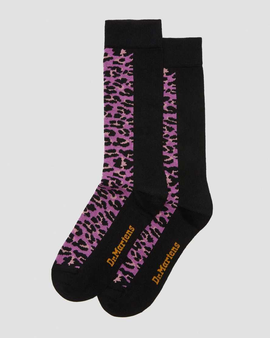 Pink Leopard Print Socks   Dr Martens
