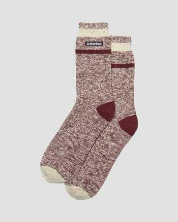 OXBLOOD/WHITE | Socks | Dr. Martens