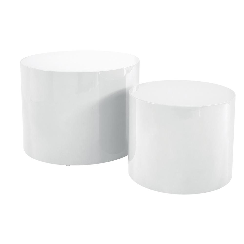 Circolare gloss stacking side tables white