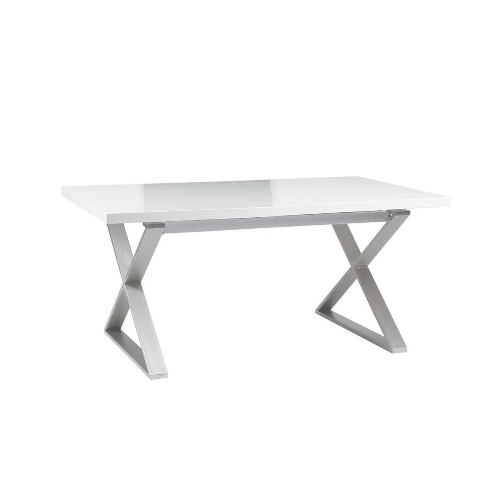 Attra gloss 6 seater dining table brushed steel leg white