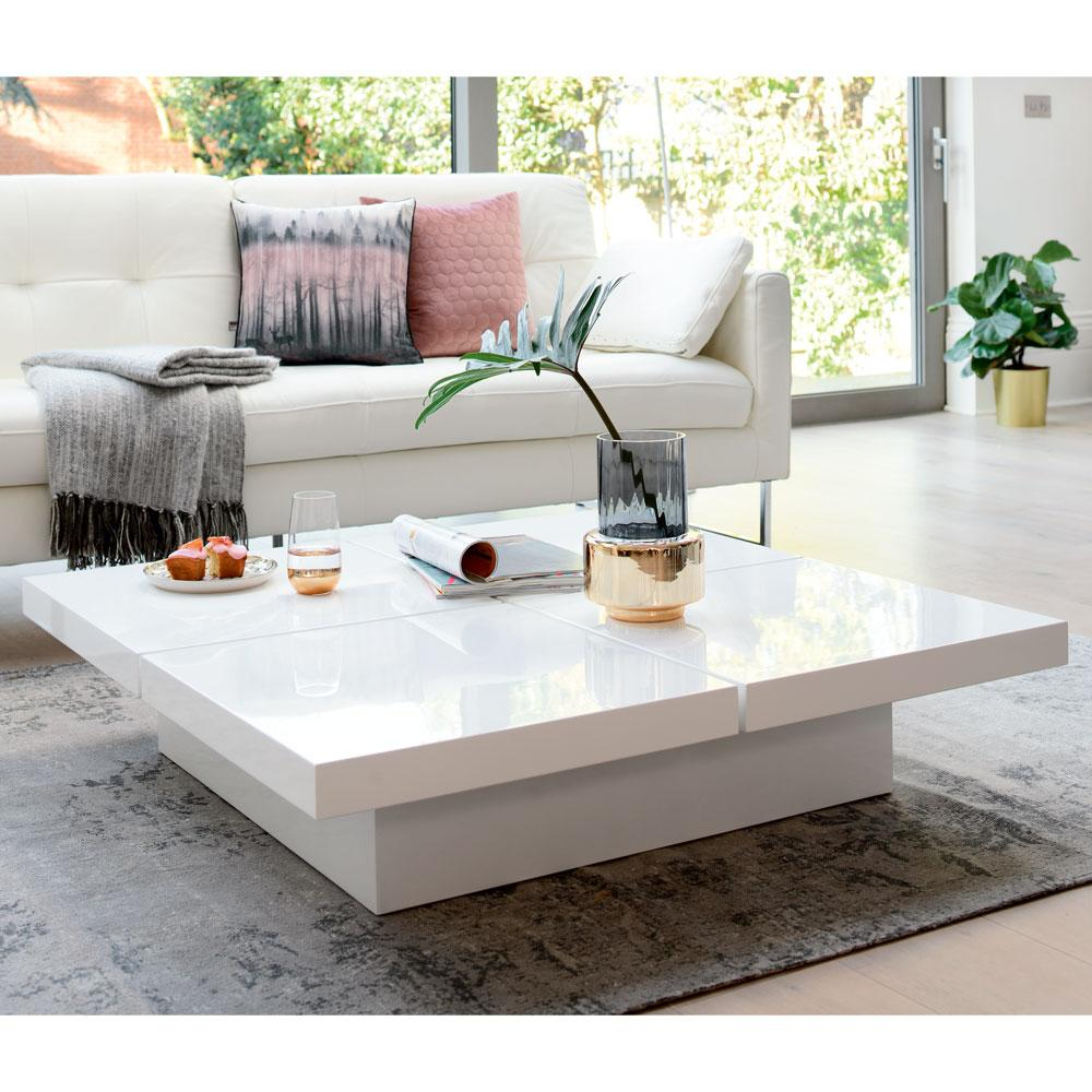 Basso four block storage coffee table white