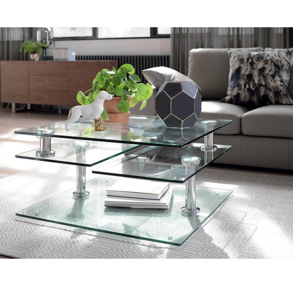 Motab extending glass coffee table clear