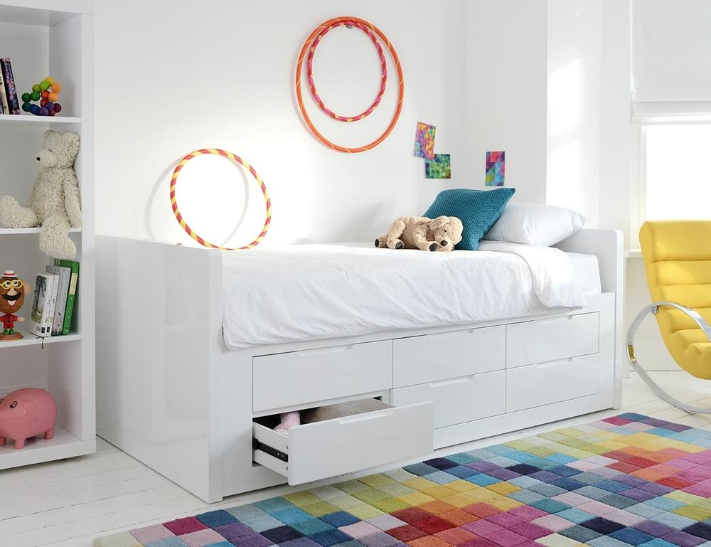 Buddy 6 drawers storage bed white- includes mattress