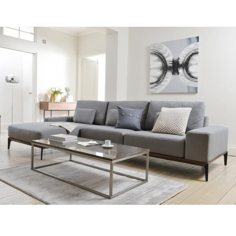 Malmo left hand facing four seater chaise sofa grey