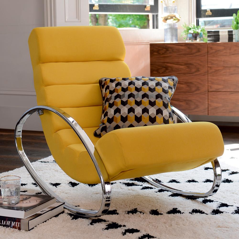 Bruco rocker with chrome legs mustard fabric