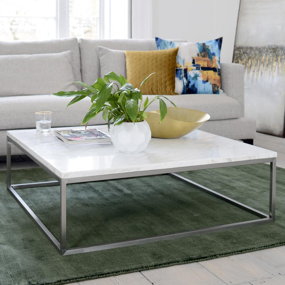 Cadre marble square coffee table white