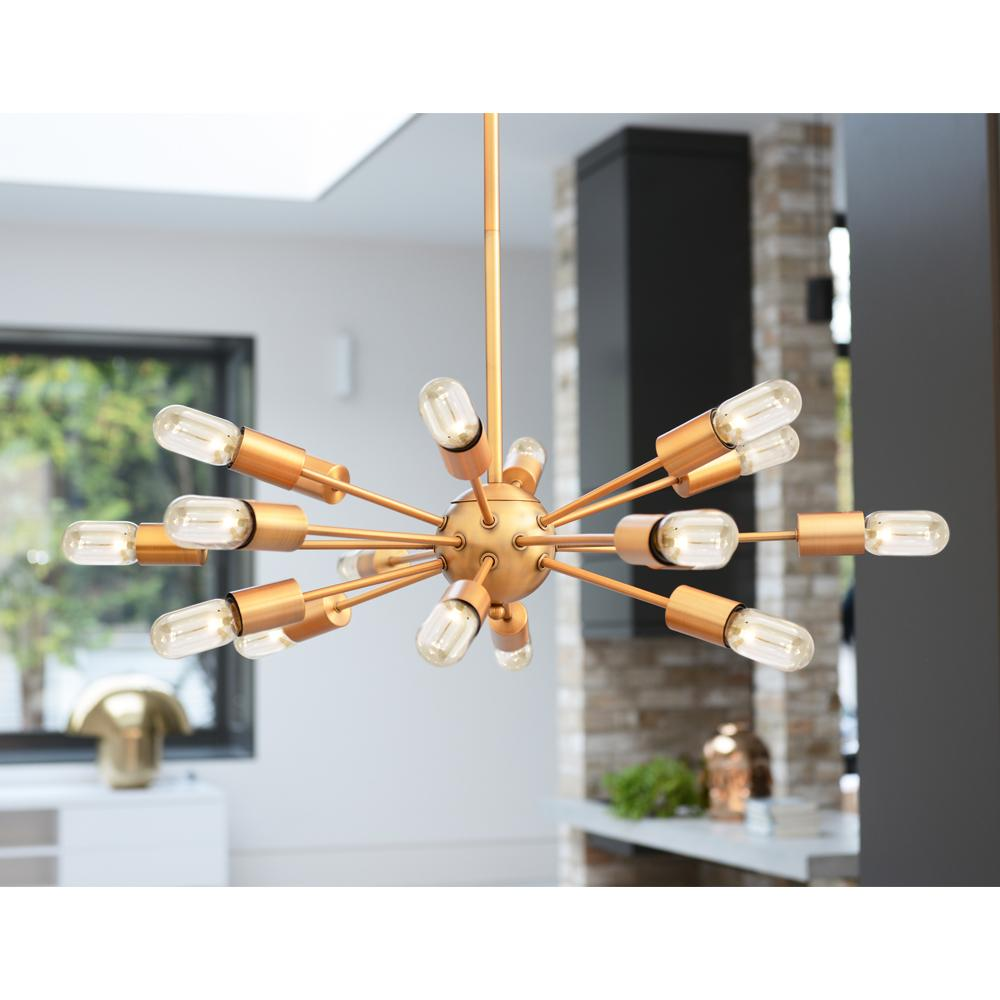 Sticks pendant light brass 18 bulbs