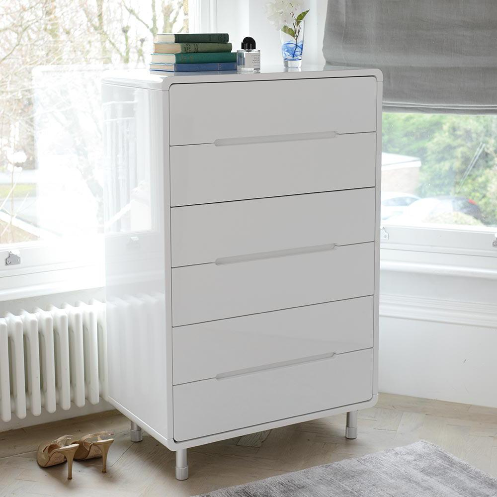 Notch Tall Chest Of Drawers White | dwell