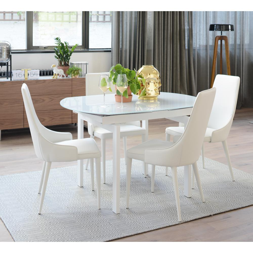 Gracili Extending 4 6 Seater Dining Table White Glass Dwell